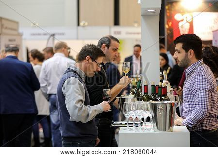 CRACOW POLAND - NOVEMBER 16 2017: International Wine Trade Fair ENOEXPO in Cracow. Producers of wine from all around the world meet the importers distributors and representatives. Cracow. Poland