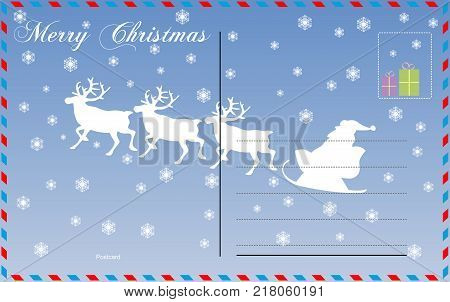 Travel postcard vector holiday merry christmas new year