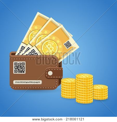 Crypto currency bitcoin technology concept. Personal wallet with qr code and access key, paper money, banknotes and coins for trading, buying, selling, mining and transfer. Flat vector illustration