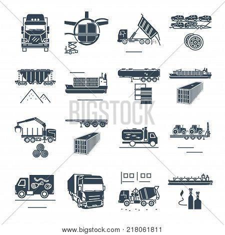 set of black icons freight transport process goods and cargo ship train truck