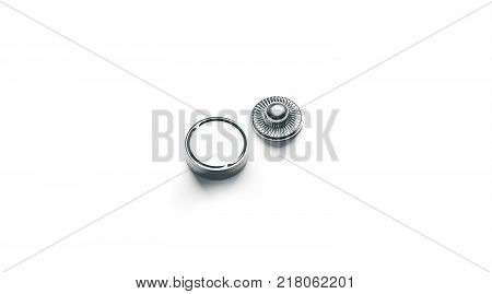 Blank white metal snap button mock up isolated 3d rendering. Empty clothing jeans clasp mockup front and back side view. Clear metallic fastener for dressmaking and cloth branding design. poster