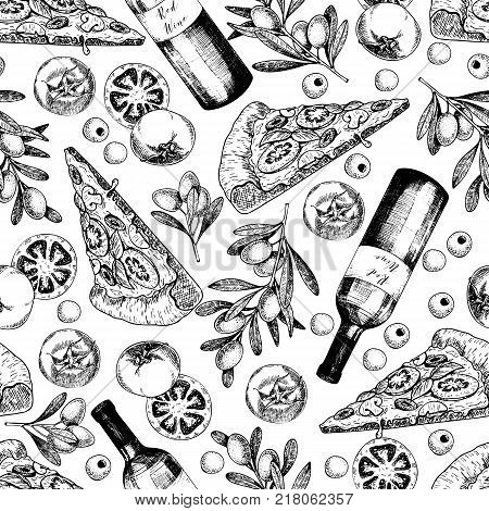 Vector hand drawn seamless pattern of pizza wine olives and tomato. Italian food. Hand drawn set of fast food. Vintage engraved illustration. restaurant menu street food bakery cafe flyer