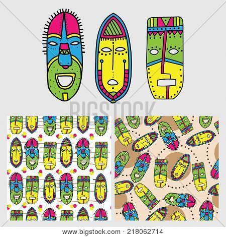 Set of ethnic colorful seamless patterns with tribal african masks. Bright elements and backgrounds for your design. Handdrawn style