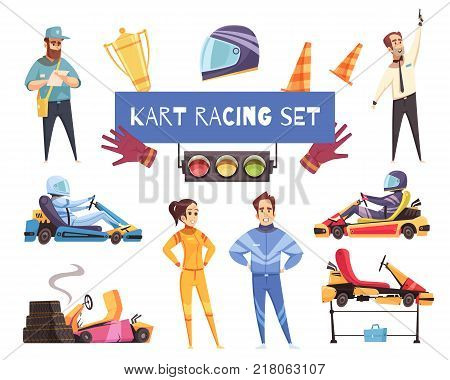 Colorful set of karting racers and equipment isolated on white background cartoon vector illustration