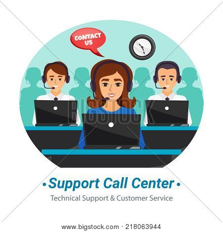 Technical support customer service call center operators at work round flat composition advertisement poster vector illustration