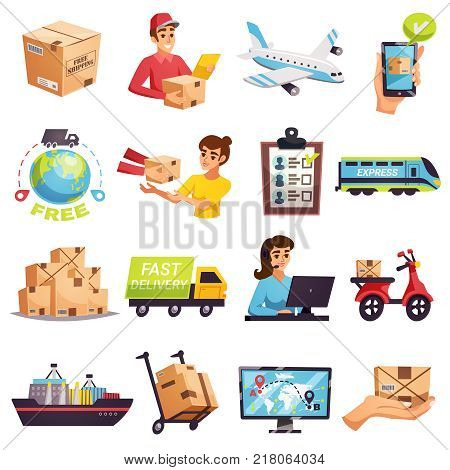 Worldwide express delivery shipment tracking and courier services icons collection with transportation operators parcels isolated vector illustration