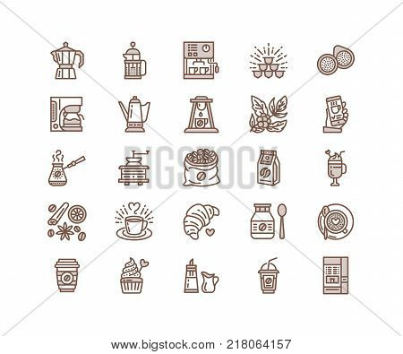 Coffee making equipment vector line icons. Tools - moka pot, french press, grinder, espresso, vending, plant. Linear restaurant, shop pictogram with editable stroke for menu. Pixel perfect 64x64.