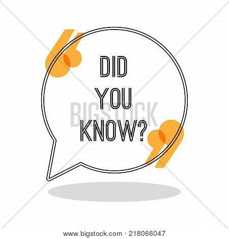 Did you know sign in big inverted commas inside round speech bubble isolated cartoon flat vector illustration. Minimalistic sticker with question.