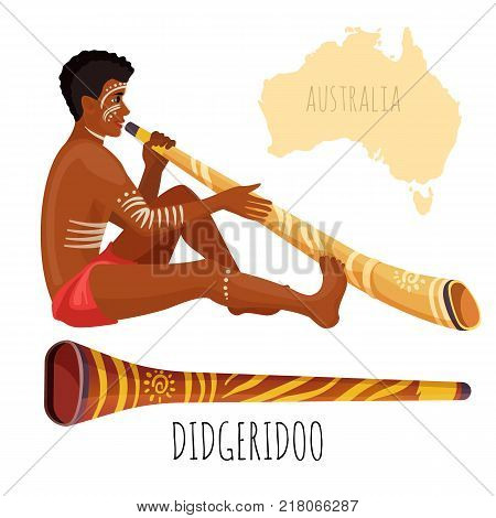 Swarthy man with white paint on face and body plays didgeridoo, wooden authentic Australian musical instrument like long pipe, vector illustration.