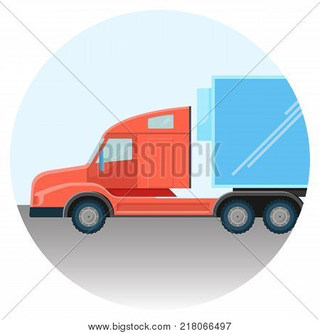 Huge modern truck red spacious cabin on road inside circle isolated cartoon vector illustration. Massive vehicle for heavy freight transportation.