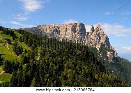 Sciliar from Seiser Alm Alpe di Siusi, Dolomites, Trentino-Alto Adige, Italy.