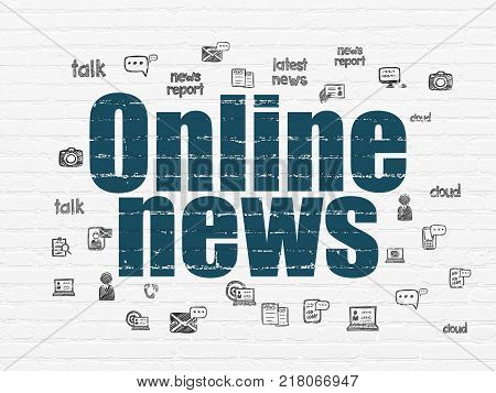 News concept: Painted blue text Online News on White Brick wall background with  Hand Drawn News Icons