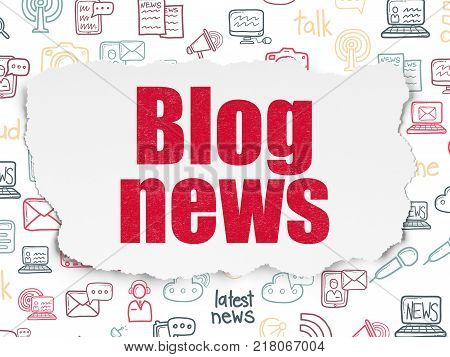 News concept: Painted red text Blog News on Torn Paper background with  Hand Drawn News Icons