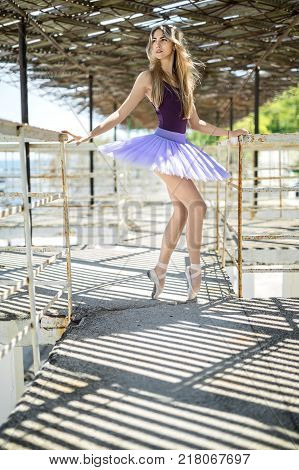 Tender ballerina stands on pointes on the concrete pier with metal handrails. She wears violet leotard with lilac tutu. Girl looks to the side with parted lips and holds her hands on the handrails.