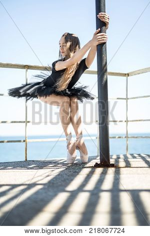 Sensual ballerina with closed eyes stands on pointes and holds a tube on the concrete pier on the clear sky and sea background. She wears a black tutu with a leotard. Sunlight falls on her body.