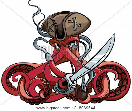Vector colourful illustration of one-eyed octopus in the tricorn with saber and tobacco pipe in his tentacles isolated on white background. File doesn't contains gradients blends transparency and strokes or other special visual effects.