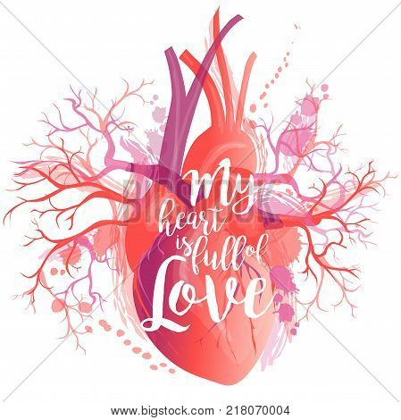 Vector lettering Human heart, internal organ. Watercolor anatomy and love concept.