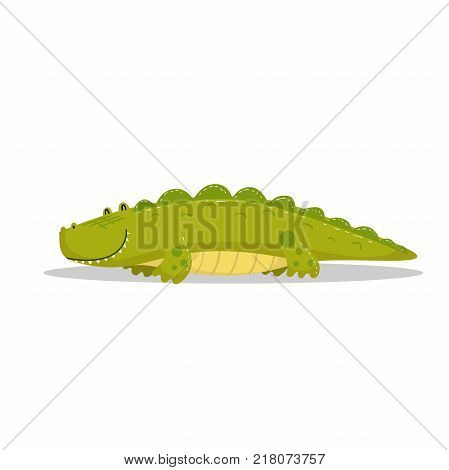 Cute cartoon trendy design little cheerful crocodile with closed eyes. African animal wildlife vector illustration icon.