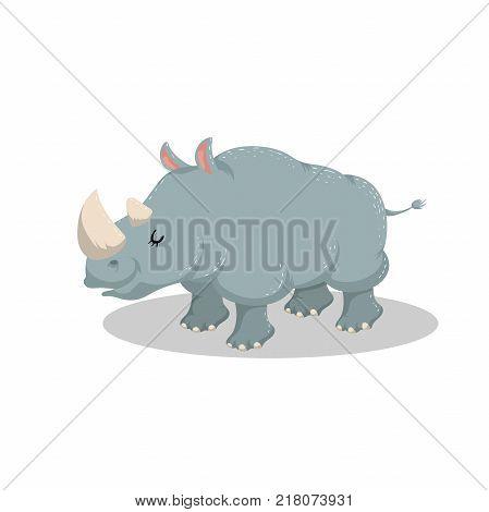 Cute cartoon trendy design cheerful rhino with closed eyes . African or safari animals wildlife vector illustration sticker icon.