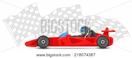 Red race car side view, formula 1 (one), on sports finish flag background. Bolides sport. Vector illustration.