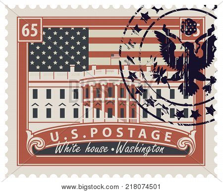 Postage stamp with inscriptions and the image of the US Capitol in Washington DC. Vector illustration White house in Washington with rubber stamp on the background of american flag