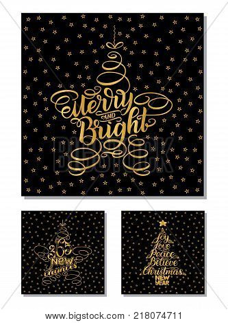 Set New Year Greeting Cards, lettering design. Vector illustration isolated on black background with golden stars and letters. 365 new chances, merry and bright, New Year and Christmas Wish tree.