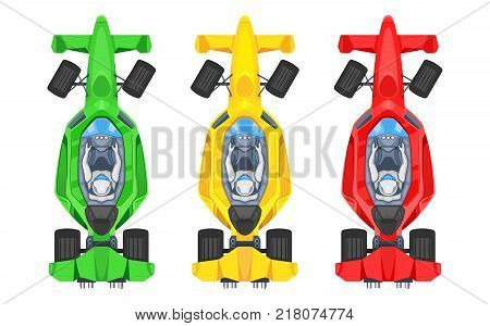 Set of colorful fast motor racing cars, formula 1 (one), bolides sport racing car flat vector icons isolated on white background. Speed motor drive. View from above. Vector illustration