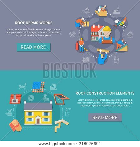 Two horizontal roofer banner set with roof repair works and construction elements headlines vector illustration