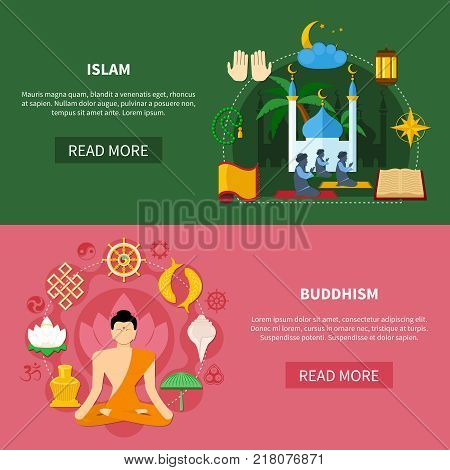 Colored religions flat and horizontal banner set with buddhism and islam headlines vector illustration