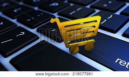 Online shopping and e-commerce concept with golden icon on a computer keyboard 3D illustration.