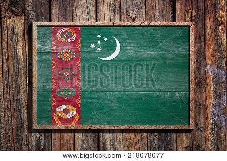 Wooden Turkmenistan Flag