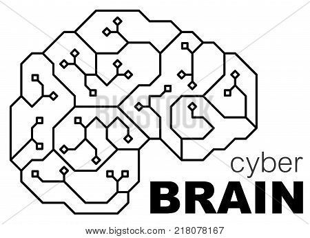 Vector printed circuit board human brain. Concept illustration of cpu in the center of computer system. Logo / icon digital circuits with the brain.