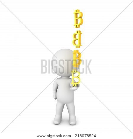 3D Character showing red fire extinguisher. Isolated on white.