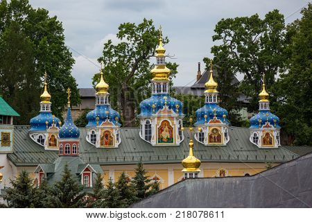 Pskov-Caves monastery or the Pskovo-Pechersky dormition monastery at summer