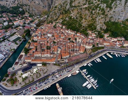 Old city in Bay of Kotor (Gulf of Kotor, Boka Kotorska) - aerial view, Montenegro