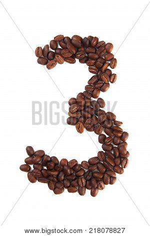 Number 3 made of coffee beans isolated on white. Concepts: alphabet logo creative coffee hand made words symbols.