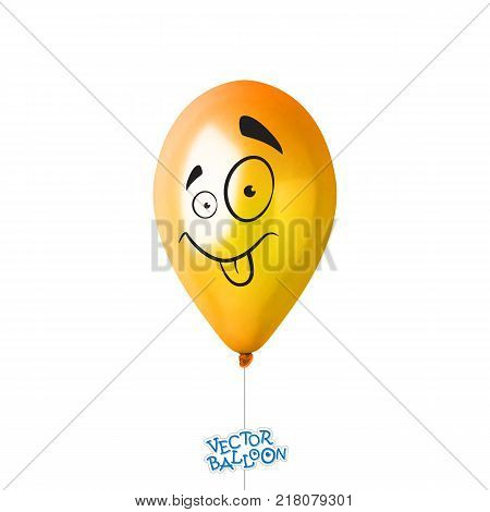 3d Realistic Colorful Balloon. Holiday illustration of flying glossy balloon with face in some emotion. Isolated on white Background. Vector Illustration