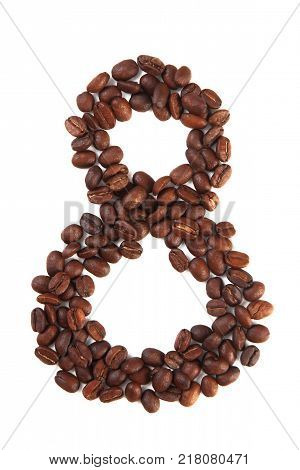 Number 8 made of coffee beans isolated on white. Concepts: alphabet logo creative coffee hand made words symbols.