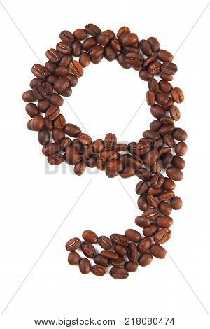 Number 9 made of coffee beans isolated on white. Concepts: alphabet logo creative coffee hand made words symbols.