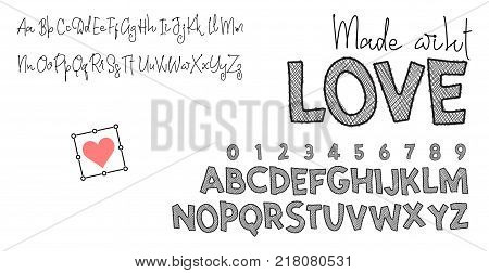 Made with love. Two fonts, for your design, one calligraphic handwriting, the second grotesque sketch.