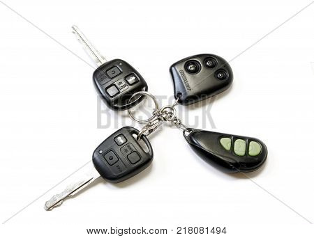 A car keys with remote on white background