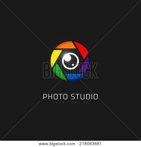 Colored photo studio logo template design. Vector illustration.