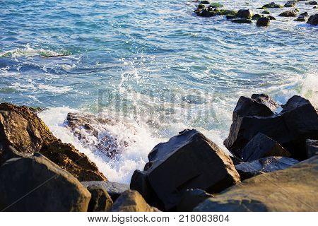 Stony sea coast of Bulgaria-sun, sea, beach-close-up