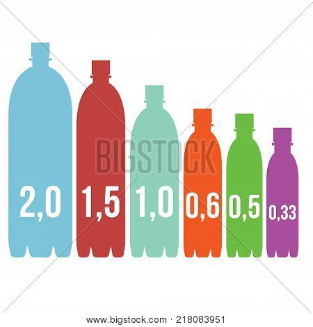 infographics sizes of PET bottles vector illustration