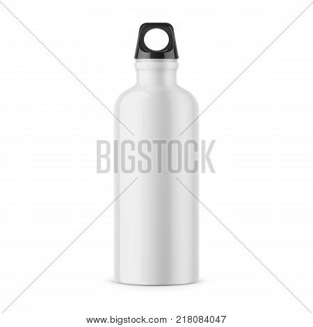 White glossy metal water bottle with black bung. 500 ml. Photo-realistic packaging mockup template. Front view. Vector 3d illustration.