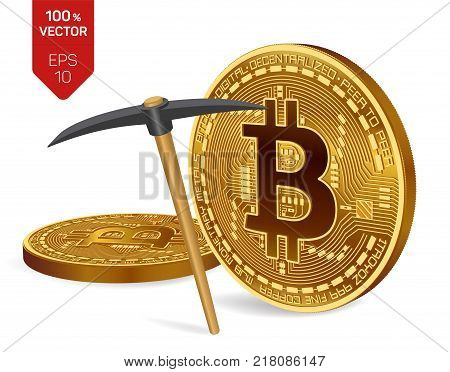 Bitcoin mining concept. 3D isometric Physical bit coins with pickaxe. Digital currency. Cryptocurrency. Golden coins with bitcoin symbol isolated on white background. Vector illustration
