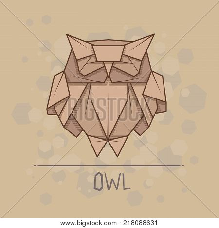 Vector simple illustration paper origami of owl.