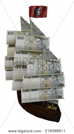 a gift of a pirate wooden ship of money with a pirate flag
