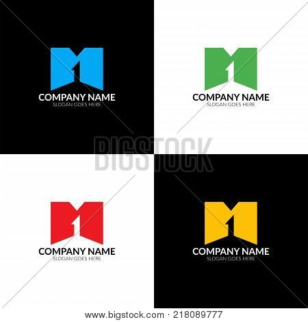 Vector illustration. Letter m and one logo, icon flat and vector design template. The letter m and 1 logotype for brand or company with text.
