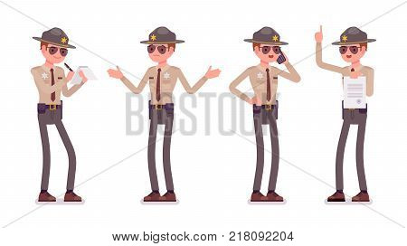 Male sheriff standing, working. Chief executive officer wearing official uniform executing civil judgments. Law and justice concept. Vector flat style cartoon illustration isolated, white background